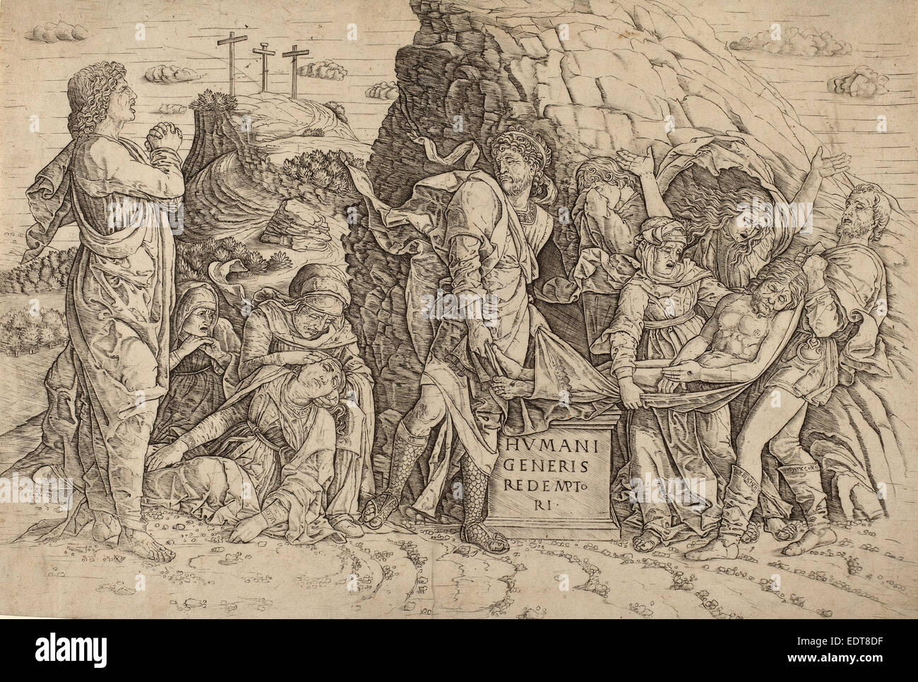after Andrea Mantegna, The Entombment, engraving - Stock Image