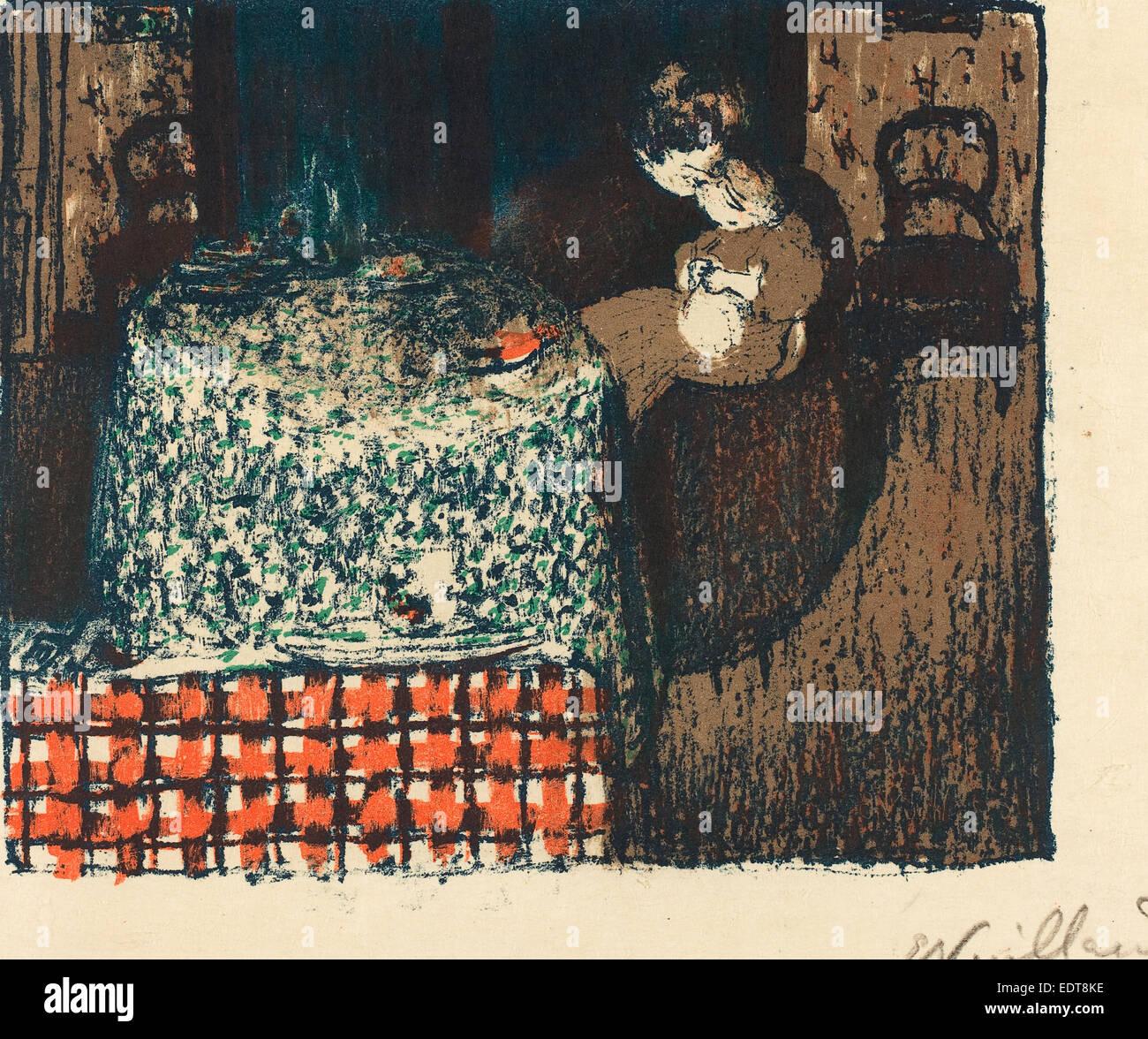 Edouard Vuillard (French, 1868 - 1940), Motherhood (Maternité), 1896, 4 color lithograph on japan paper - Stock Image