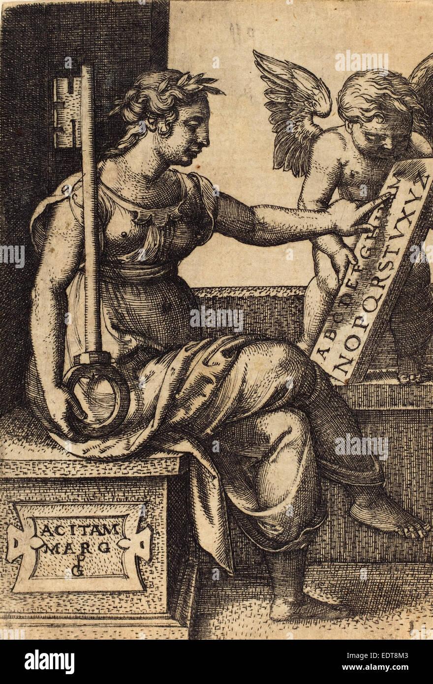 Georg Pencz (German, c. 1500 - 1550), Grammar, engraving - Stock Image