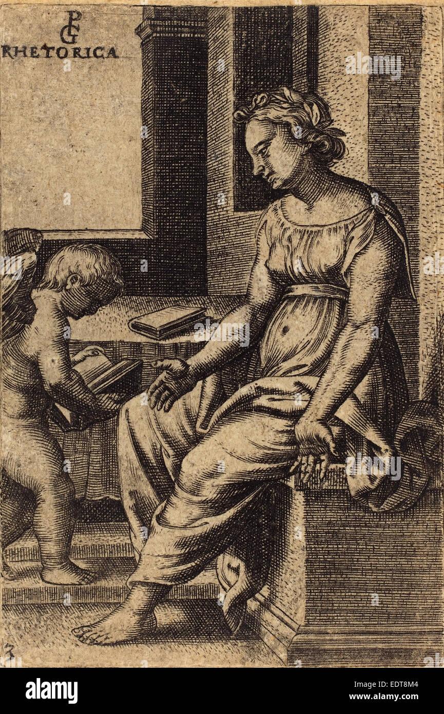 Georg Pencz (German, c. 1500 - 1550), Rhetoric, engraving - Stock Image