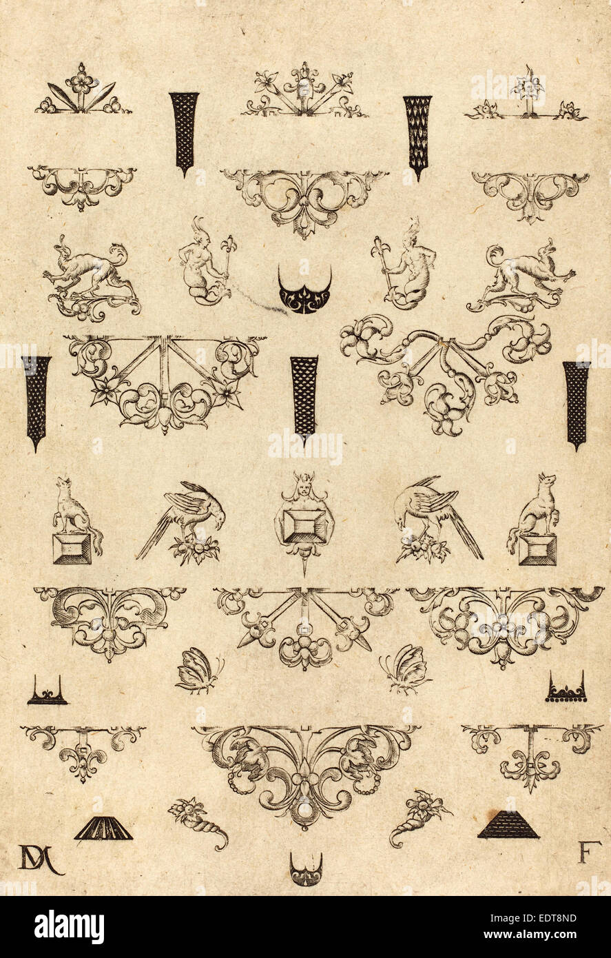Daniel Mignot (German, active 1593-1596), Eleven Different Studs and Twenty-Three Ornaments, 1593, engraving - Stock Image