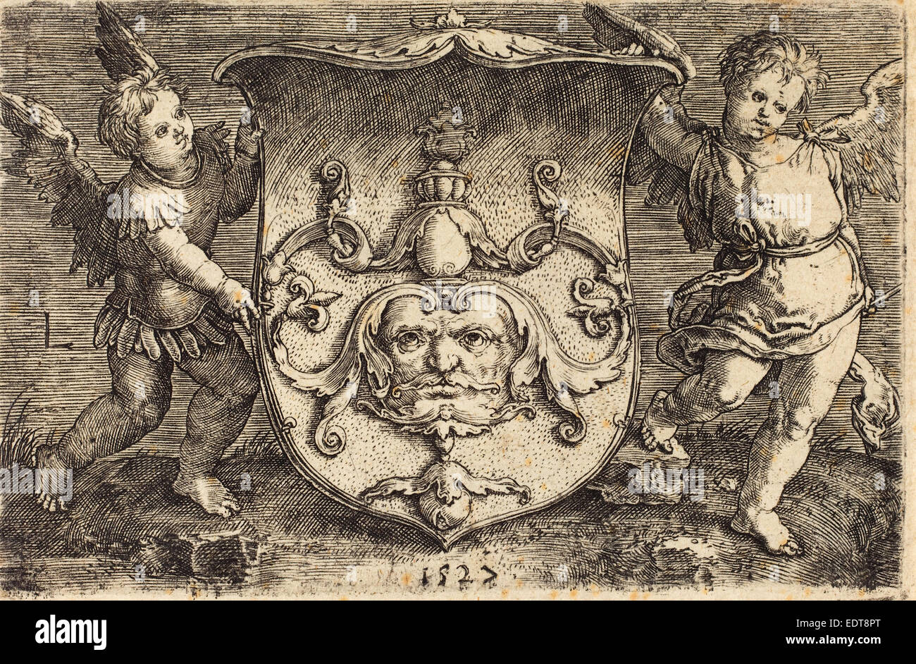 Ludwig Krug (German, c. 1488 - 1532), Shield with Mascaron, engraving - Stock Image