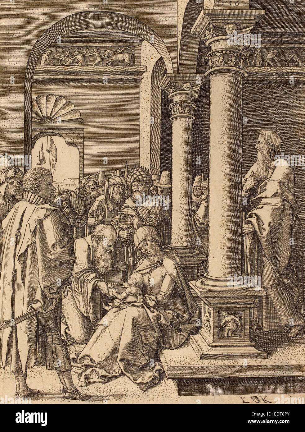 Ludwig Krug (German, c. 1488 - 1532), The Adoration of the Magi, engraving - Stock Image