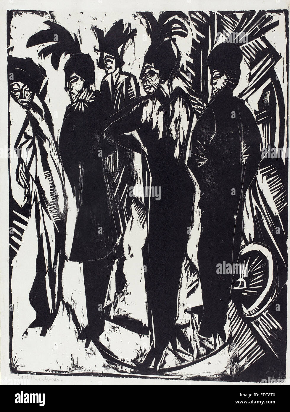 Ernst Ludwig Kirchner, Five Tarts (Fünf Kokotten), German, 1880 - 1938, 1914, woodcut on blotting paper - Stock Image