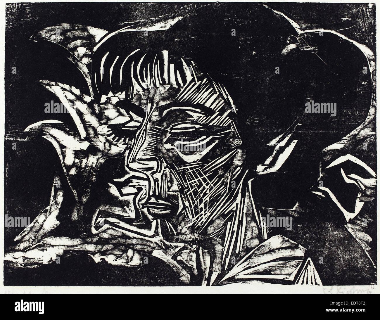 Ernst Ludwig Kirchner, Fanny Wocke, German, 1880 - 1938, 1916, woodcut in black on blotting paper - Stock Image