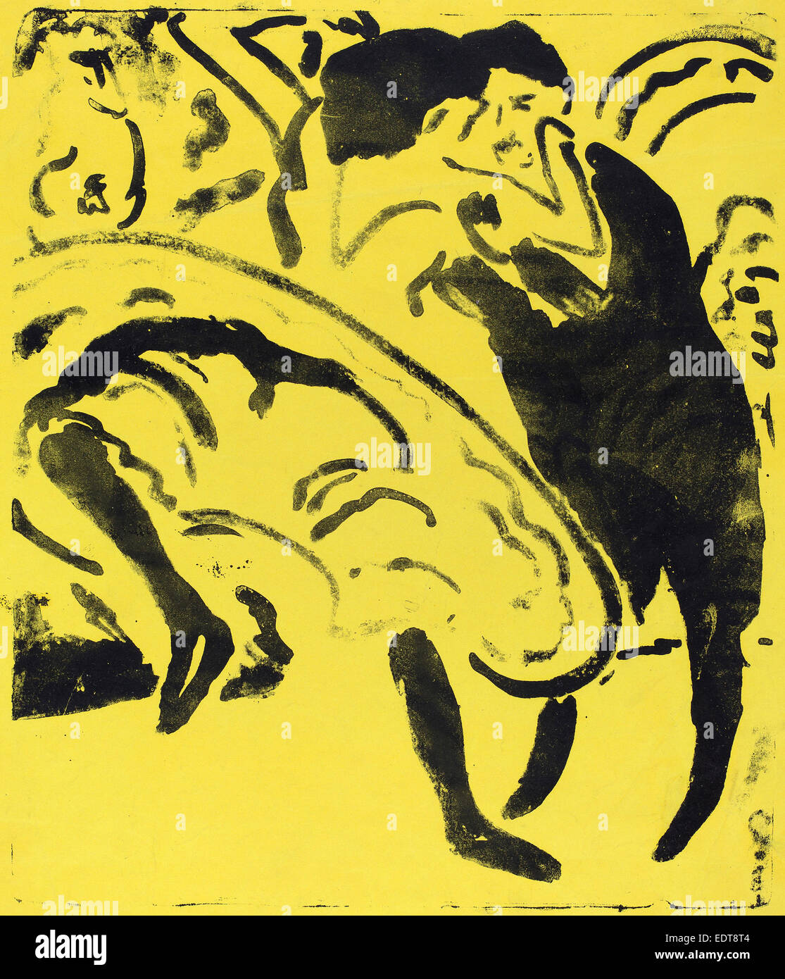 Ernst Ludwig Kirchner, Dancing Couple (Tanzpaar), German, 1880 - 1938, 1909, lithograph on yellow wove paper - Stock Image