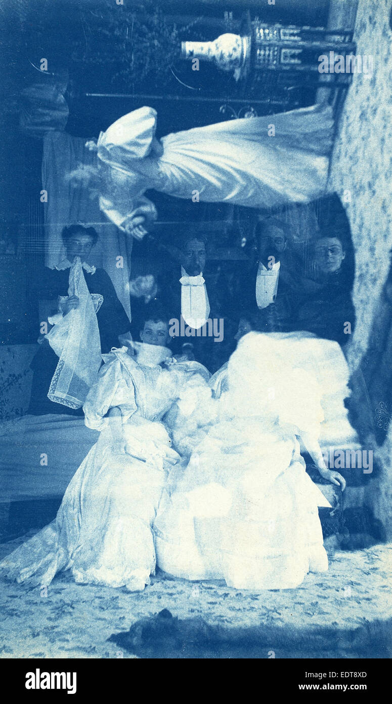 American 19th Century, Untitled (Double exposure of several people in interior), 1890s, cyanotype - Stock Image