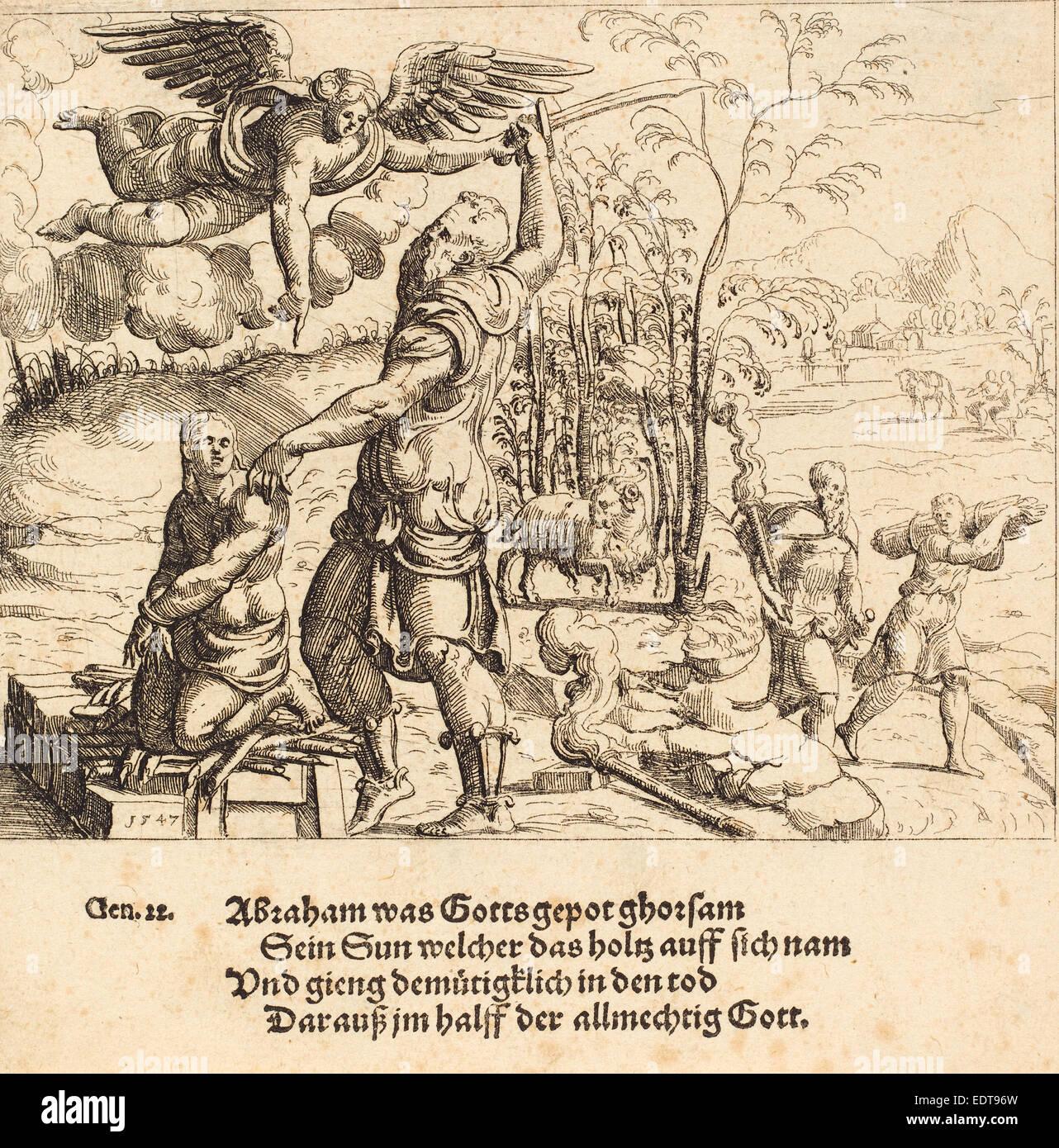 Augustin Hirschvogel (German, 1503 - 1553), The Sacrifice of Isaac, 1547, etching - Stock Image