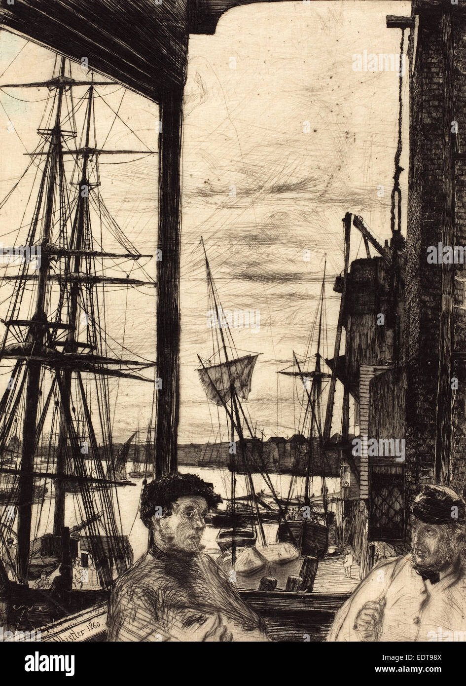 James McNeill Whistler (American, 1834 - 1903), Rotherhithe, 1860, etching - Stock Image