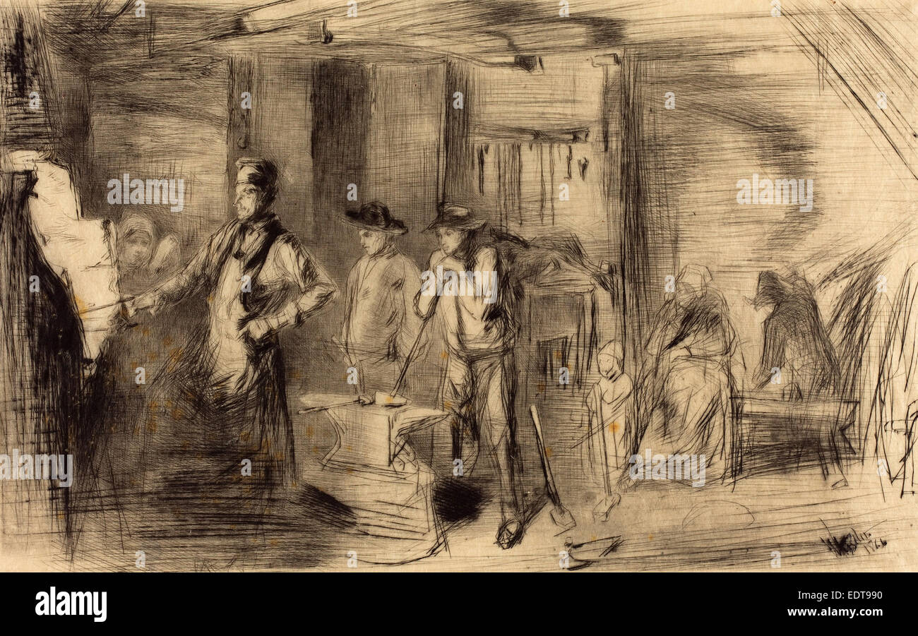 James McNeill Whistler (American, 1834 - 1903), The Forge, 1861, etching - Stock Image