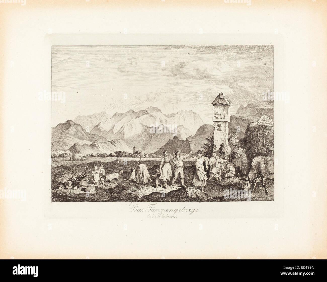 Ludwig Richter (German, 1803 - 1884), Das Tännengebirge bei Salzburg (The Tännengebirge near Salzburg), - Stock Image