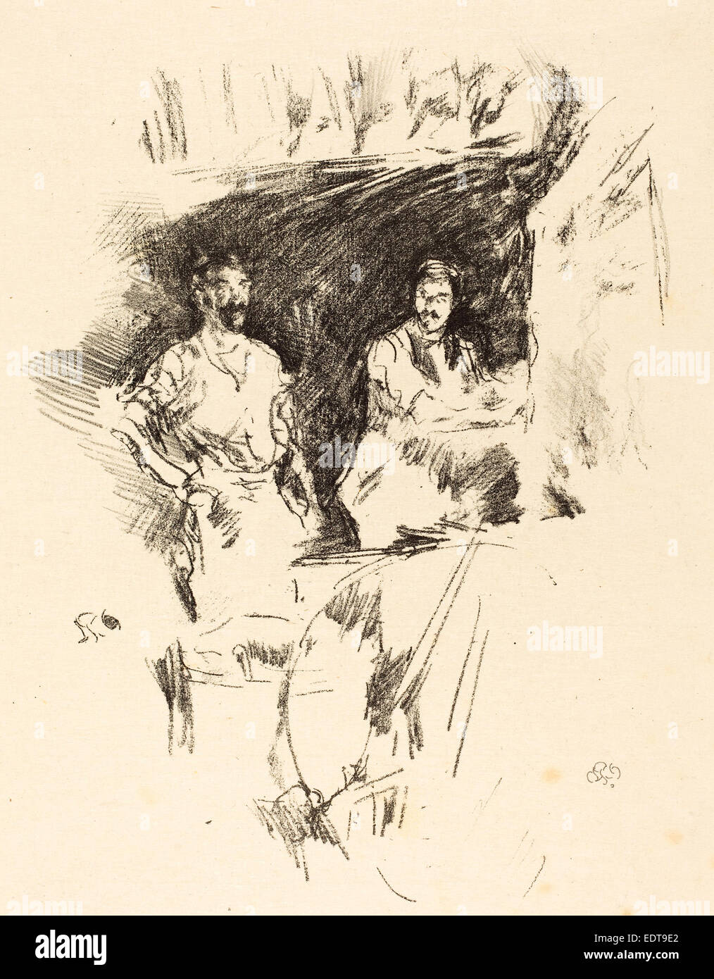 James McNeill Whistler (American, 1834 - 1903), The Brothers, 1895, lithograph - Stock Image