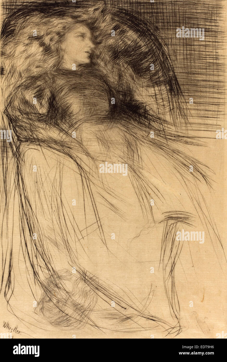 James McNeill Whistler (American, 1834 - 1903), Weary, 1863, drypoint - Stock Image
