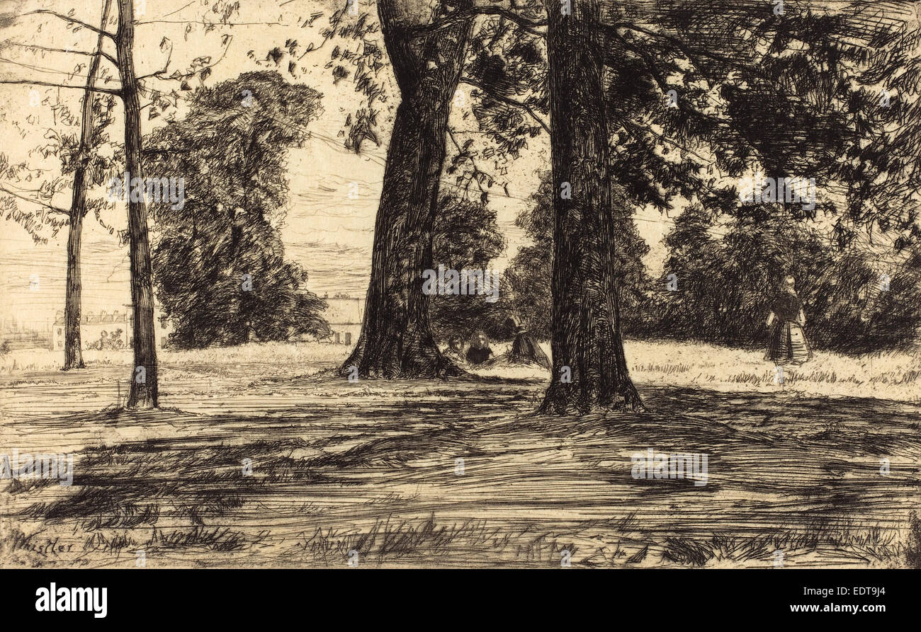 James McNeill Whistler (American, 1834 - 1903), Greenwich Park, 1859, etching in black on 'japon mince' - Stock Image