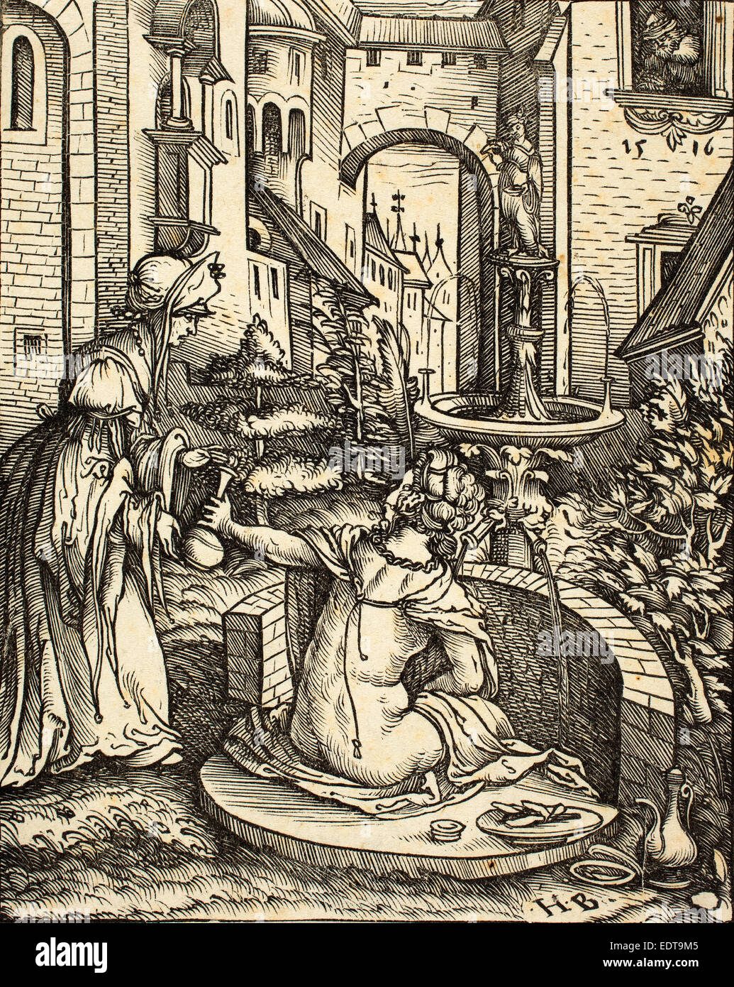 Hans Burgkmair I (German, 1473 - 1531), Bathsheba at Her Bath, 1519, woodcut