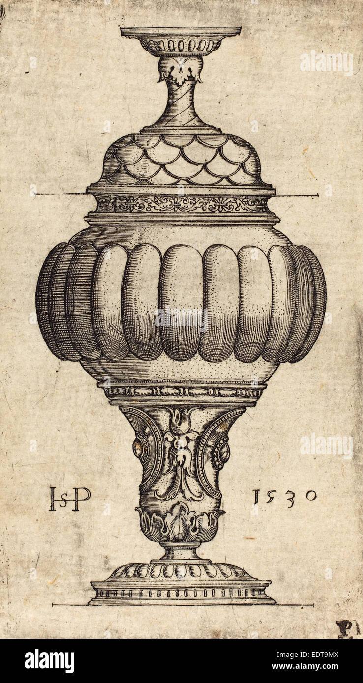 Sebald Beham (German, 1500 - 1550), Double Goblet with Oval Decorations, 1530, engraving - Stock Image