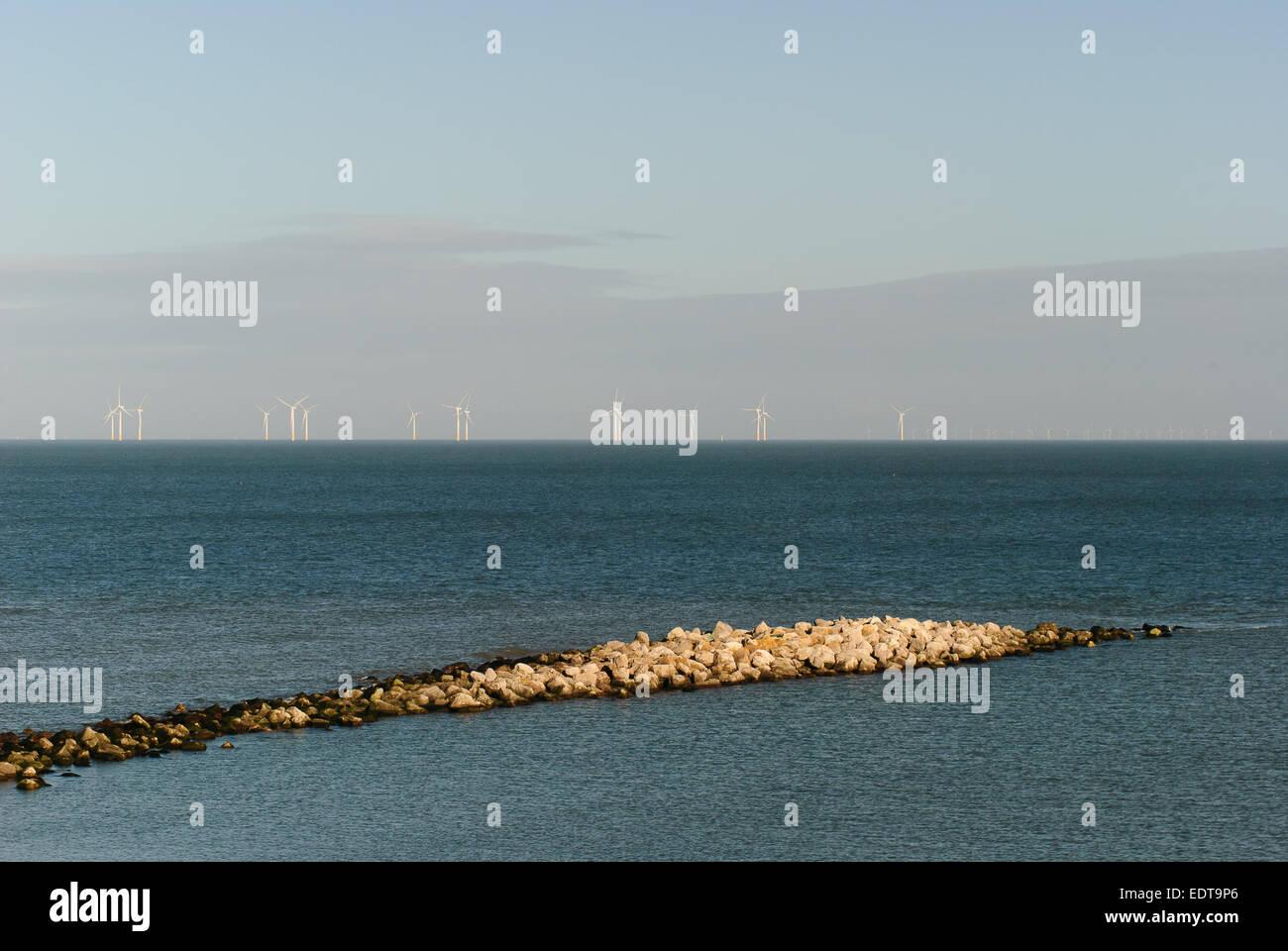 Sea Defence Rhos On Sea - Stock Image