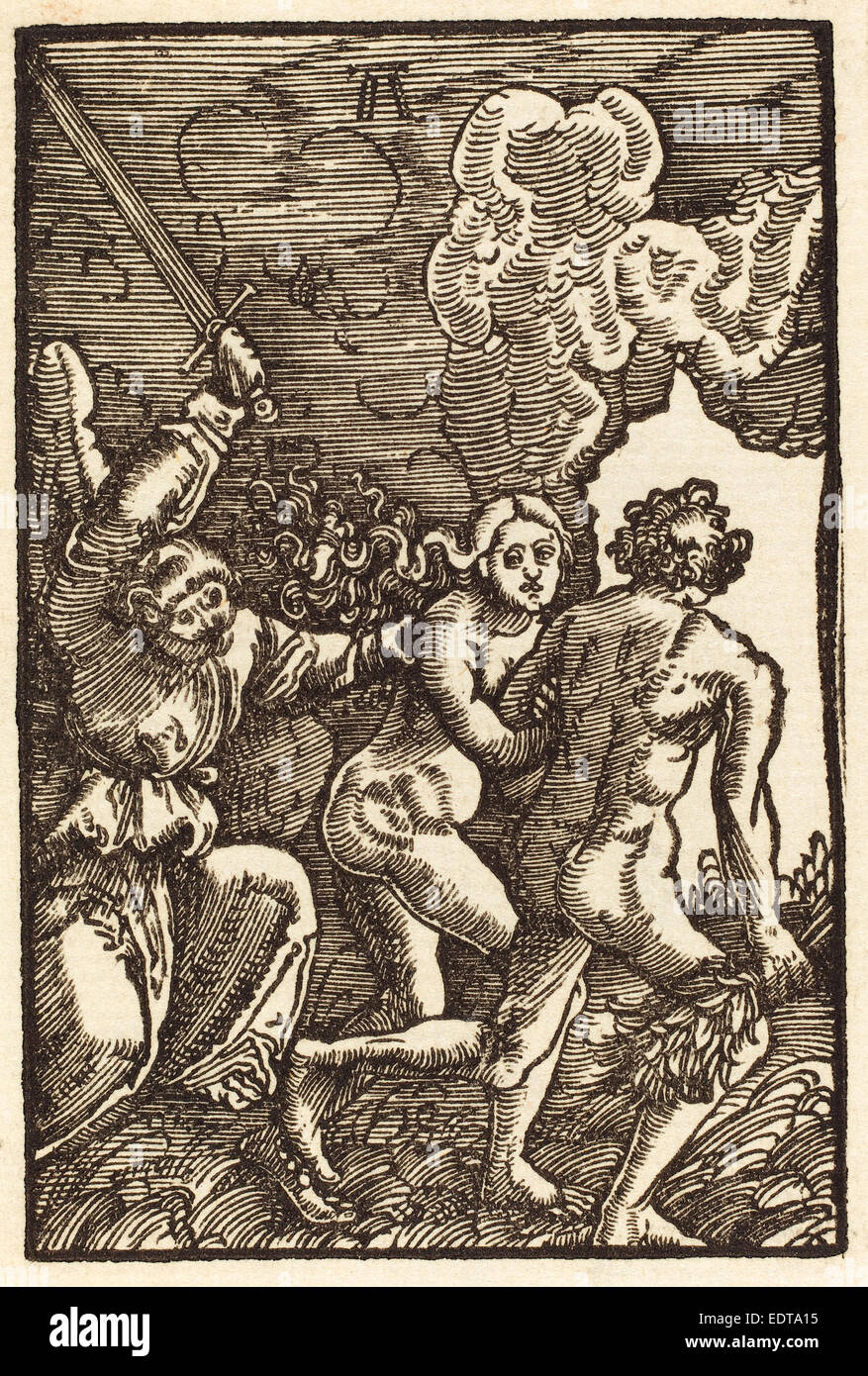 Albrecht Altdorfer (German, 1480 or before - 1538), Expulsion from Paradise, c. 1513, woodcut - Stock Image
