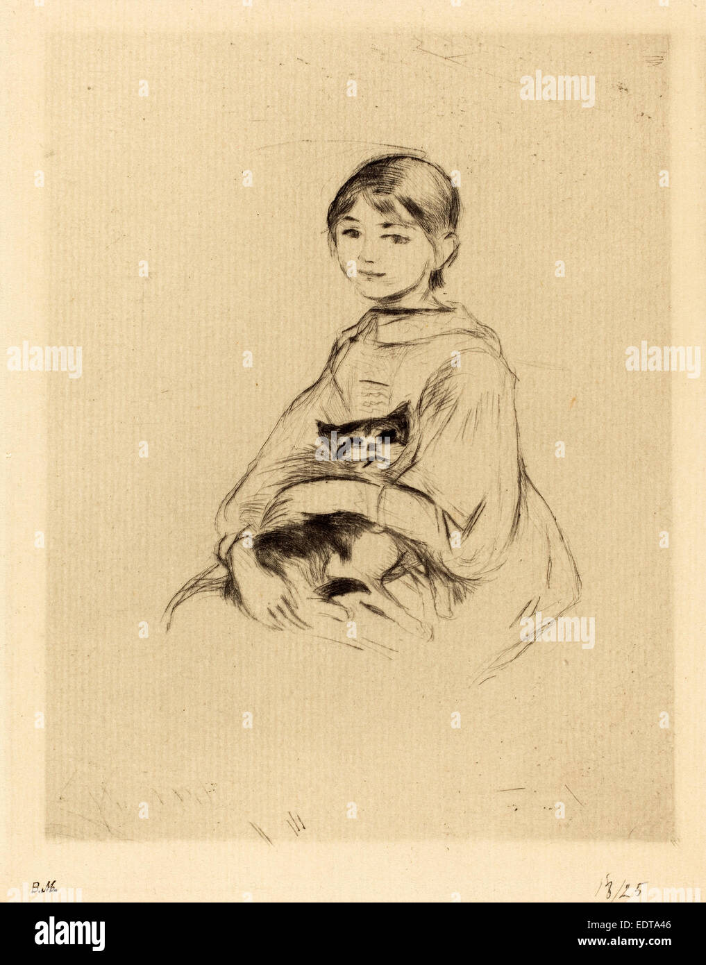 Berthe Morisot (French, 1841 - 1895), Little Girl with Cat, 1888-1890, drypoint [reprinted by Ambroise Vollard] - Stock Image