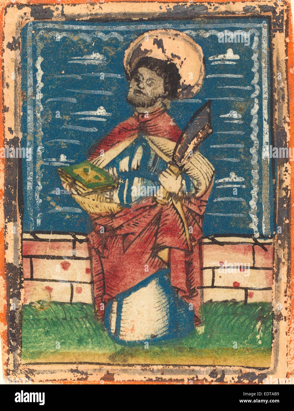 German 15th Century, Saint Bartholomew, 1480-1490, woodcut, hand-colored in blue, red lake, green, yellow, white, - Stock Image