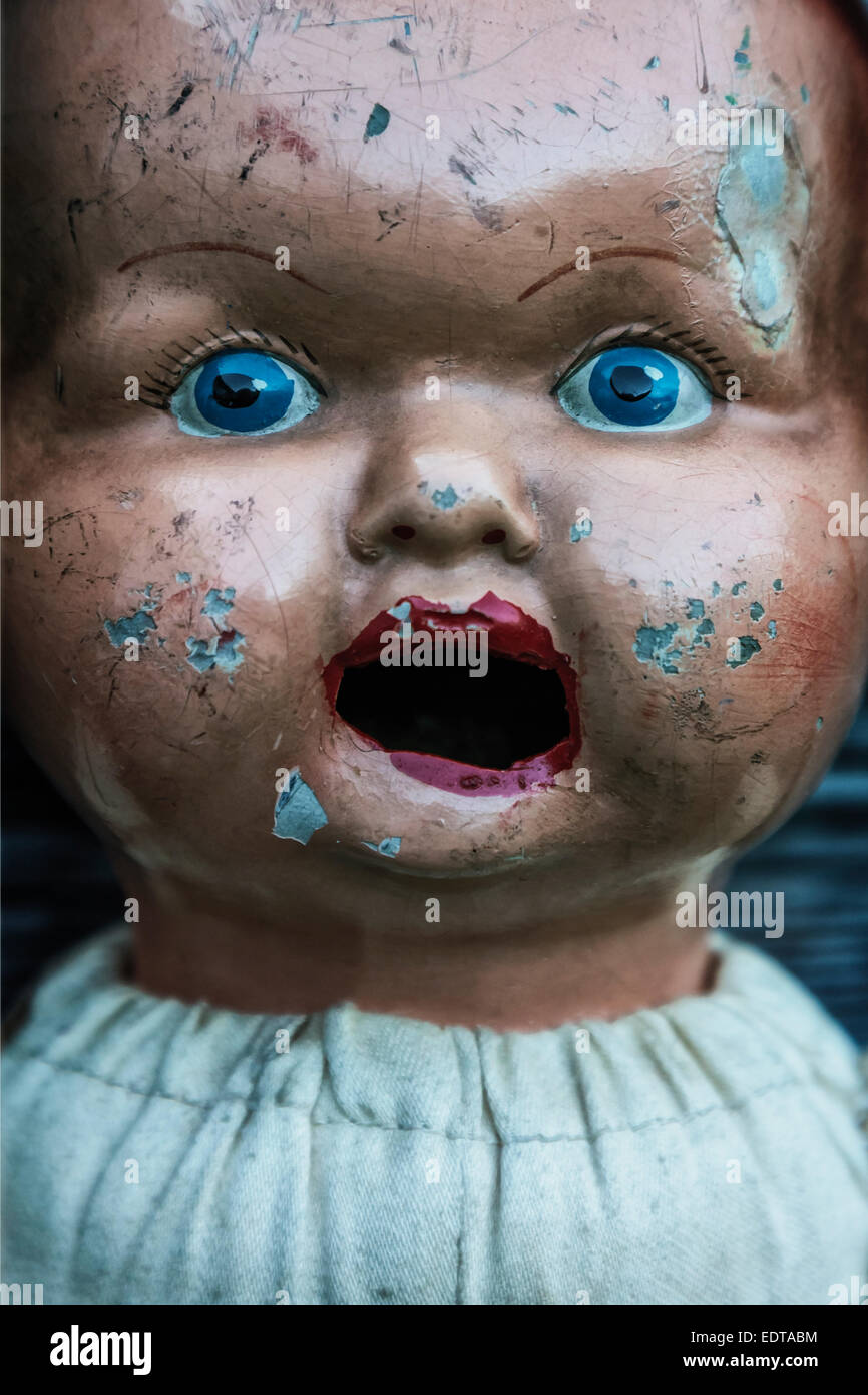 face of an old, vintage doll - Stock Image