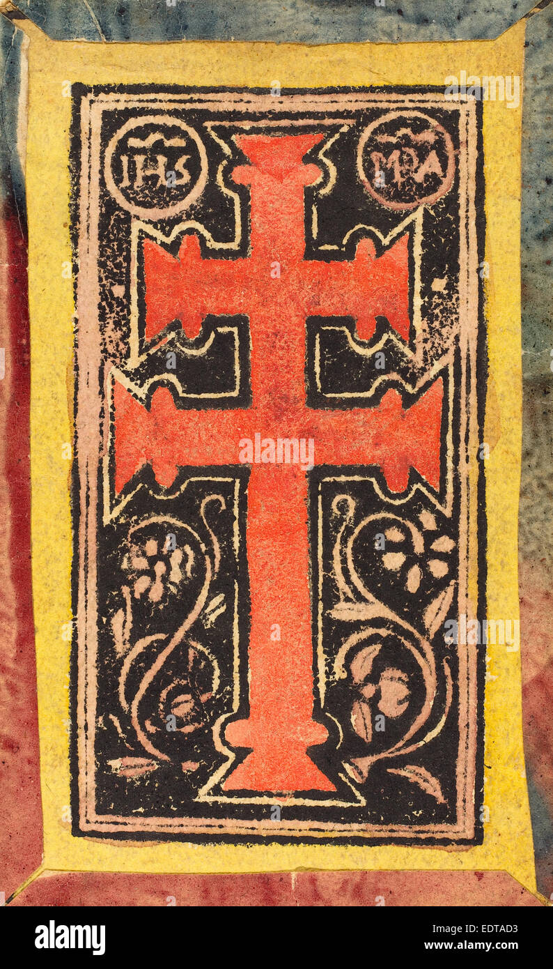 German 15th Century, The Cross, c. 1500, woodcut, hand-colored in red, pink, and yellow - Stock Image
