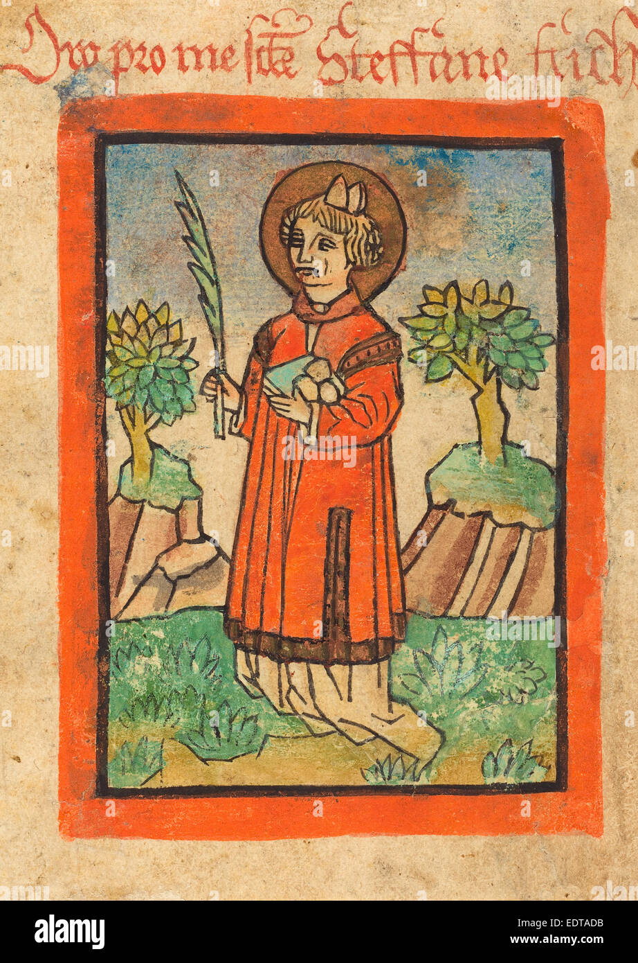German 15th Century, Saint Stephen, 1450-1470, woodcut, hand-colored in orange, green, blue and brown - Stock Image