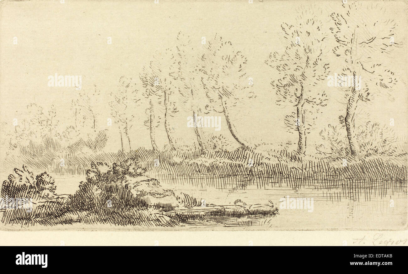 Alphonse Legros, Banks of the Adour (Bord de l'Adour), French, 1837 - 1911, etching - Stock Image