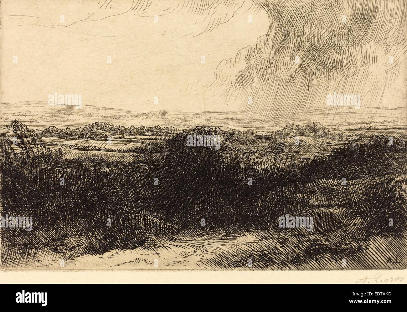 Alphonse Legros, Prospect (Le point de vue), French, 1837 - 1911, etching - Stock Image