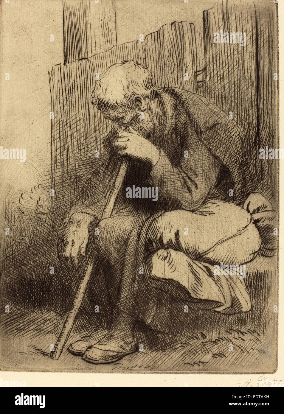 Alphonse Legros, Thinker (Le penseur), French, 1837 - 1911, etching and drypoint - Stock Image