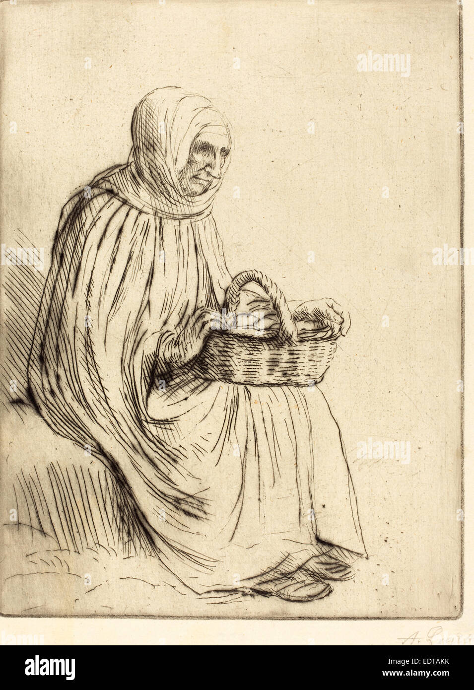 Alphonse Legros, Woman of the Marketplace (Femme du marche), French, 1837 - 1911, etching and drypoint - Stock Image