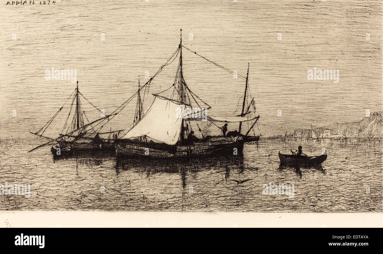 Adolphe Appian (French, 1818 - 1898), Barque de Pecheurs, 1874, etching on laid paper - Stock Image