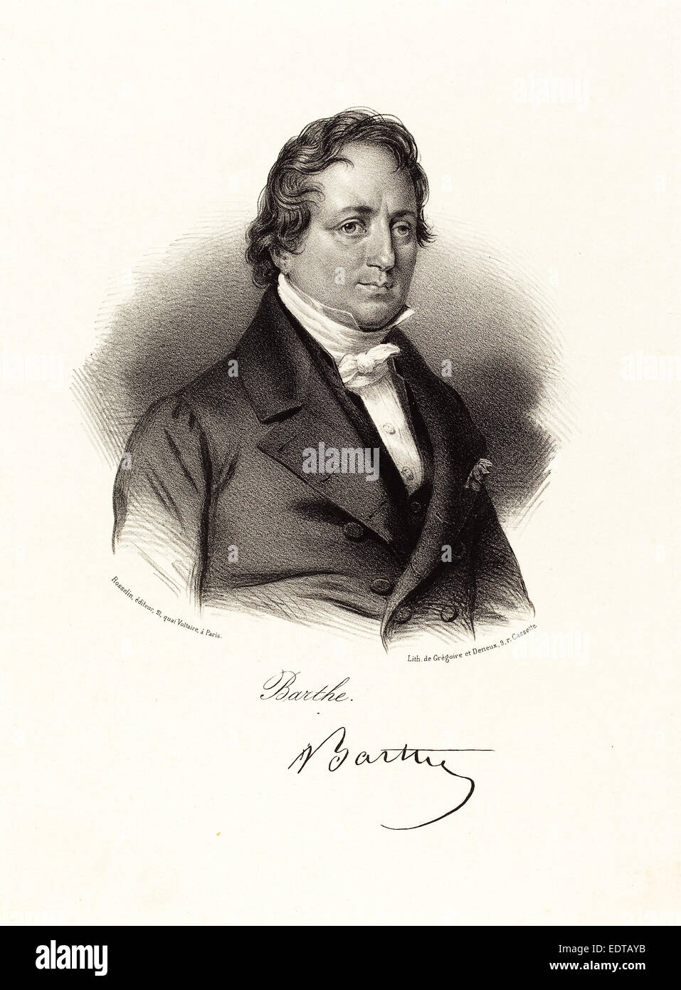 Probably French 19th Century, Barthe, lithograph - Stock Image
