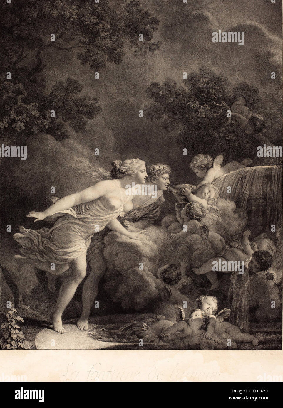 Nicolas Francois Regnault after Jean-Honoré Fragonard (French, 1746 - c. 1810), La Fontaine d'Amour (The Fountain of Love), 1785 Stock Photo