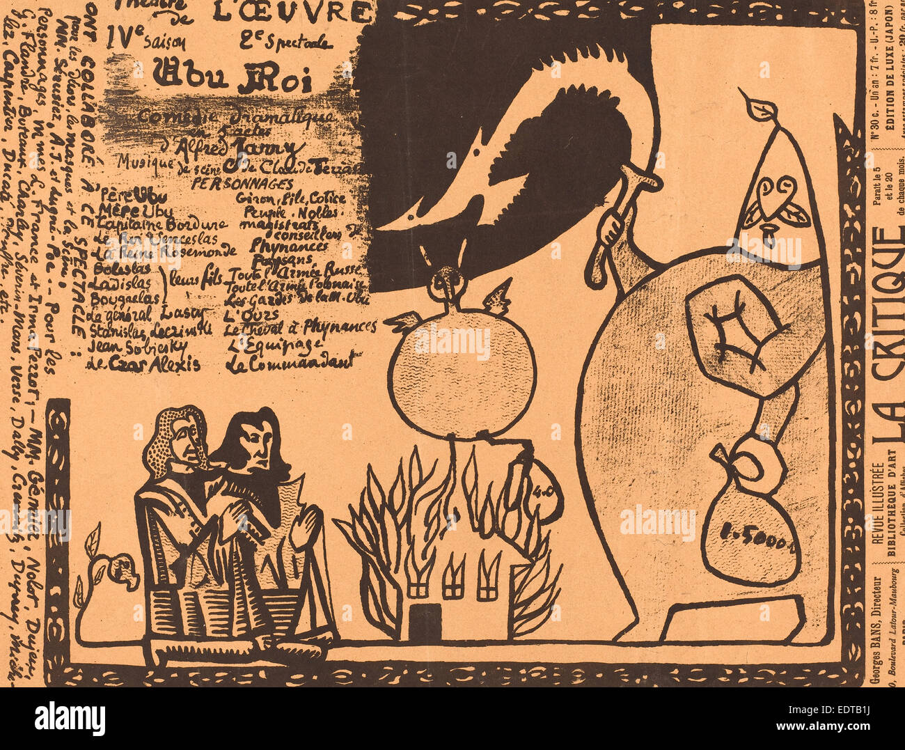 Alfred Jarry (French, 1873 - 1907), Ubu Roi, 1896, photomechanical process in black on pink wove paper - Stock Image
