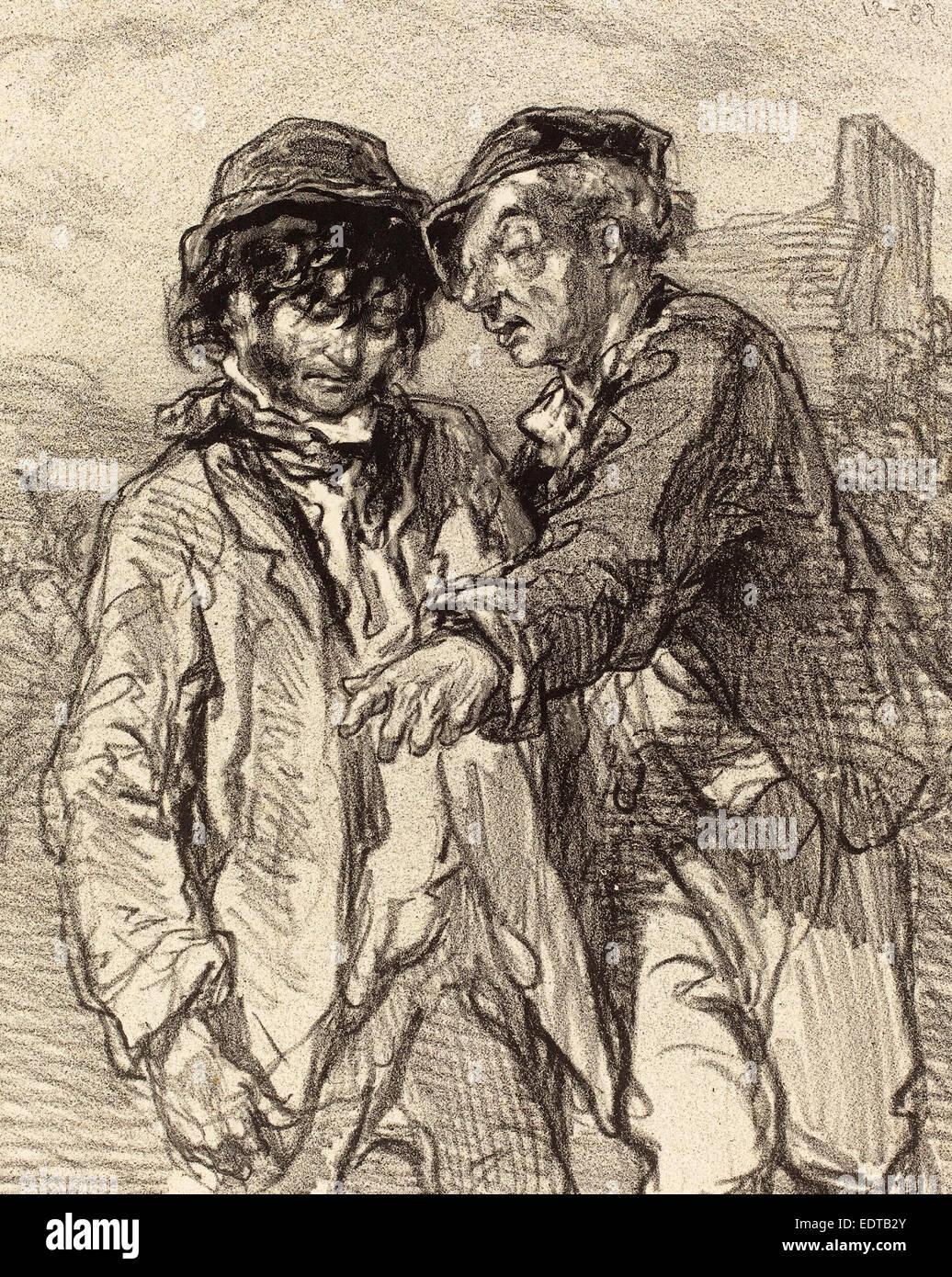 Paul Gavarni (French, 1804 - 1866), Histoire d'en dire deux, lithograph Stock Photo