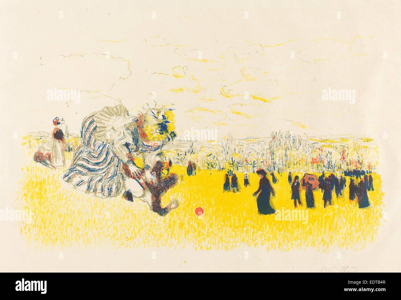 Edouard Vuillard (French, 1868 - 1940), Children's Pastime (Jeux d'enfants), published 1897, color lithograph - Stock Image
