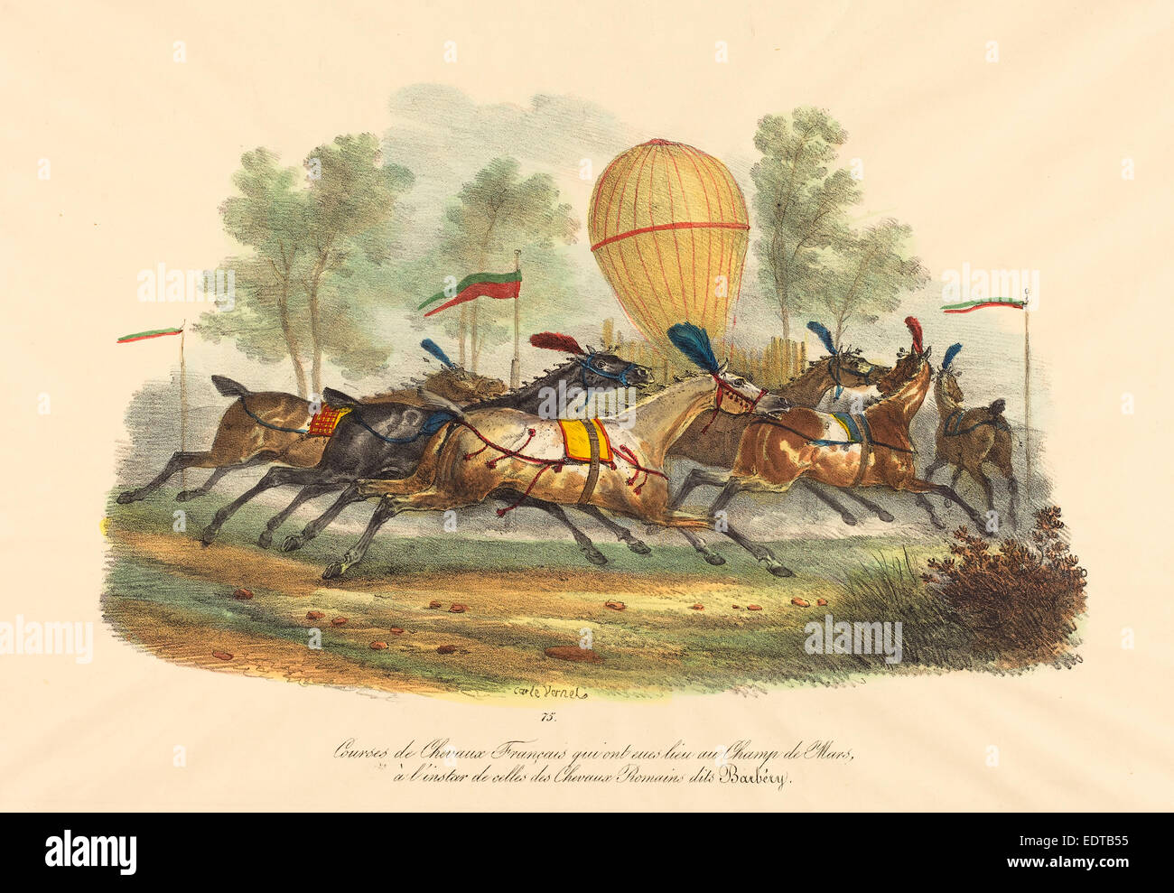 Carle Vernet (French, 1758 - 1836), French Race Horses, hand-colored lithograph - Stock Image