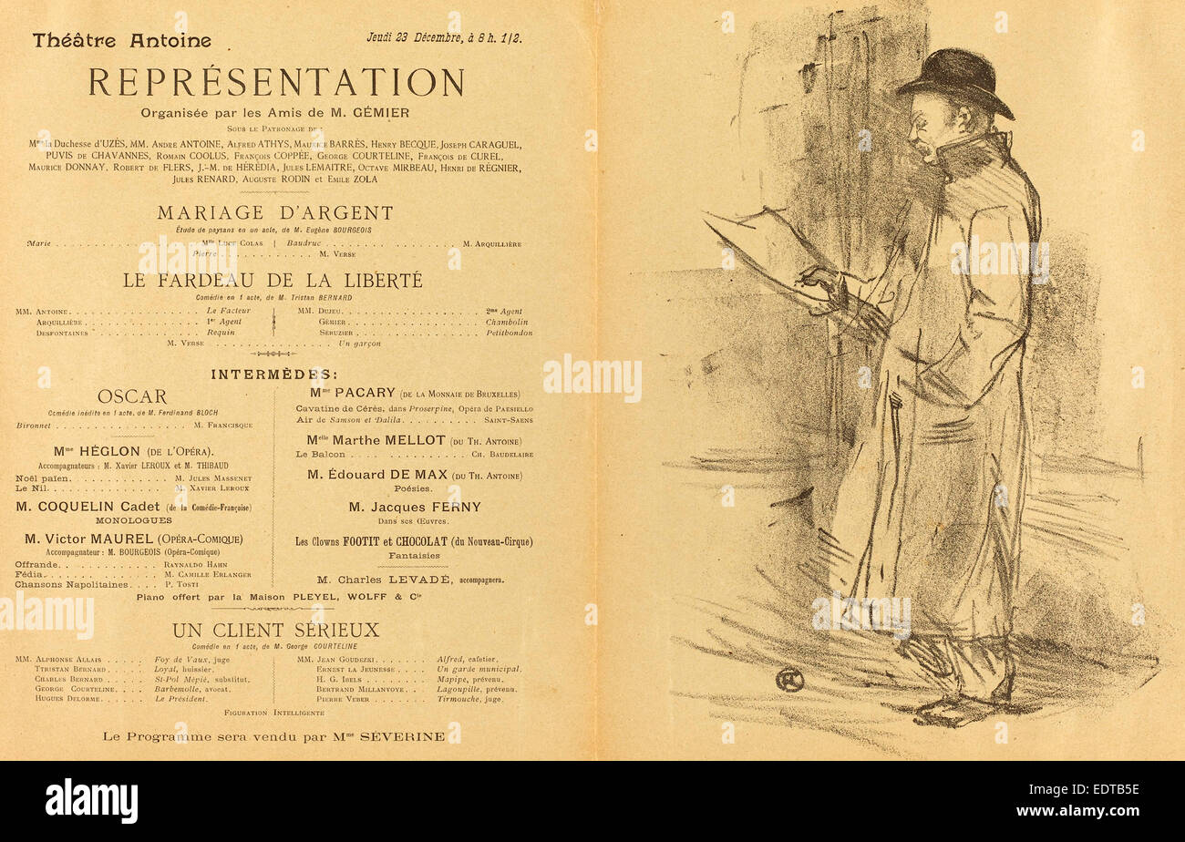 Henri de Toulouse-Lautrec (French, 1864 - 1901), Mariage d'argent; Le Fardeau de la liberté; Un Client - Stock Image