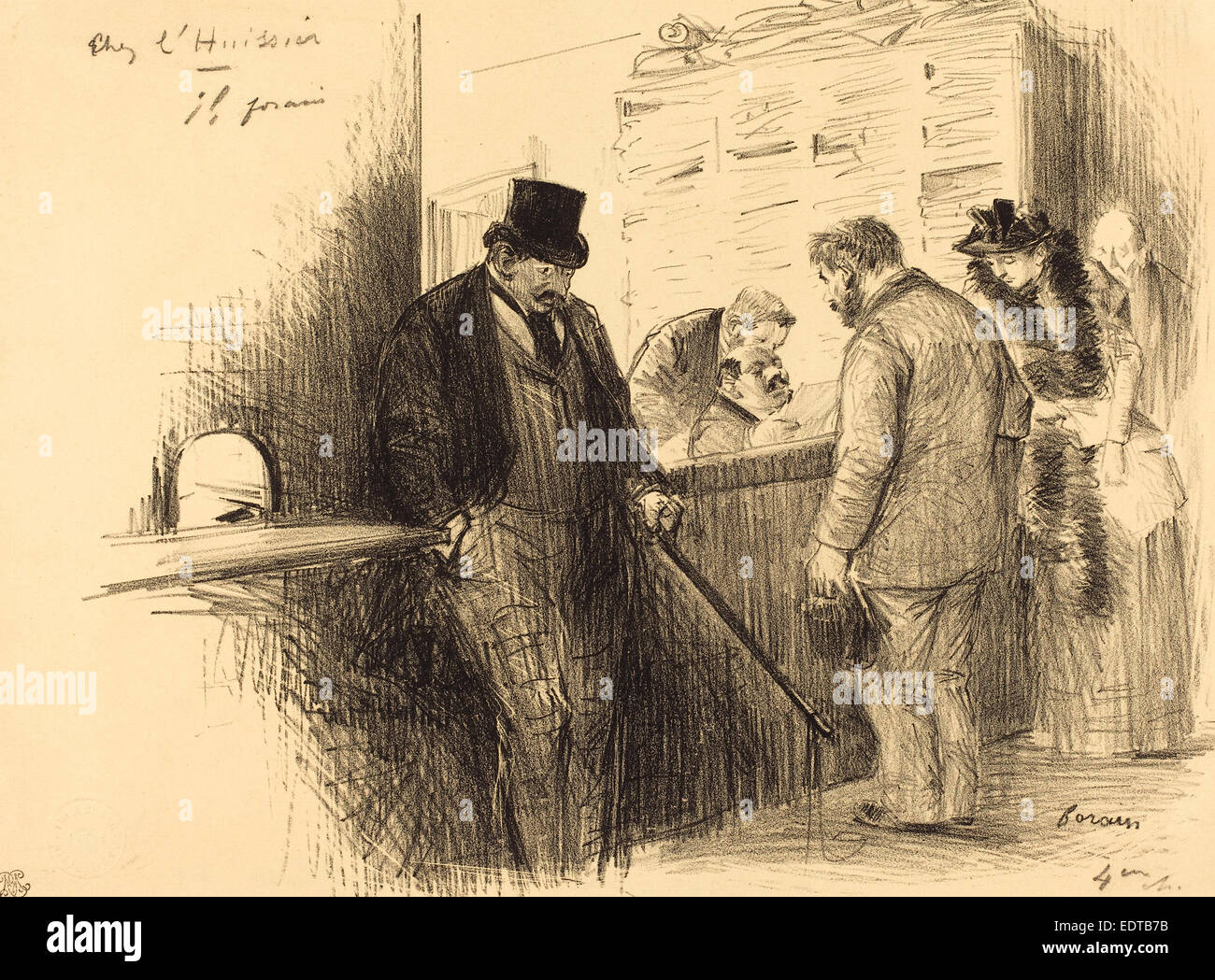 Jean-Louis Forain (French, 1852 - 1931), At the Bailiff's, c. 1891, lithograph - Stock Image