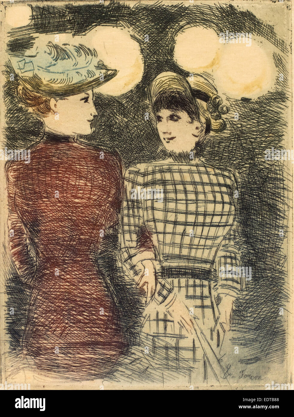 Jean-Louis Forain (French, 1852 - 1931), To Bullier's, c. 1876, color etching - Stock Image