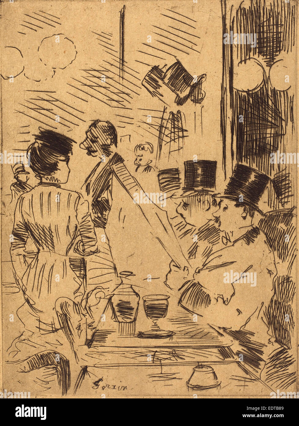 Jean-Louis Forain (French, 1852 - 1931), The Cafe of the New Athens, c. 1876, etching - Stock Image