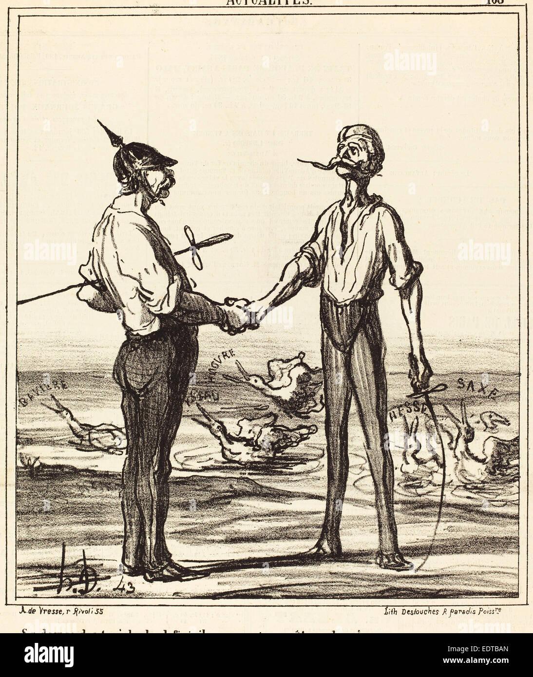 Honoré Daumier (French, 1808 - 1879), Se demandant si, le duel fini, ils ne vont pas etre plumes, 1866, lithograph - Stock Image