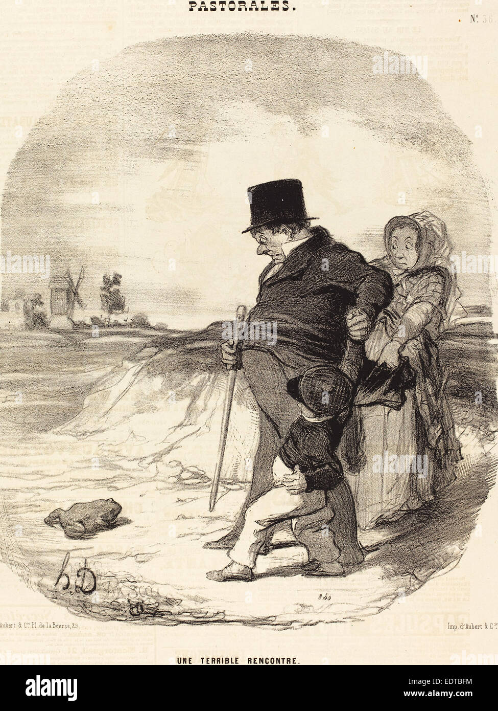 Honoré Daumier (French, 1808 - 1879), Une Terrible rencontre, 1845, lithograph on newsprint - Stock Image
