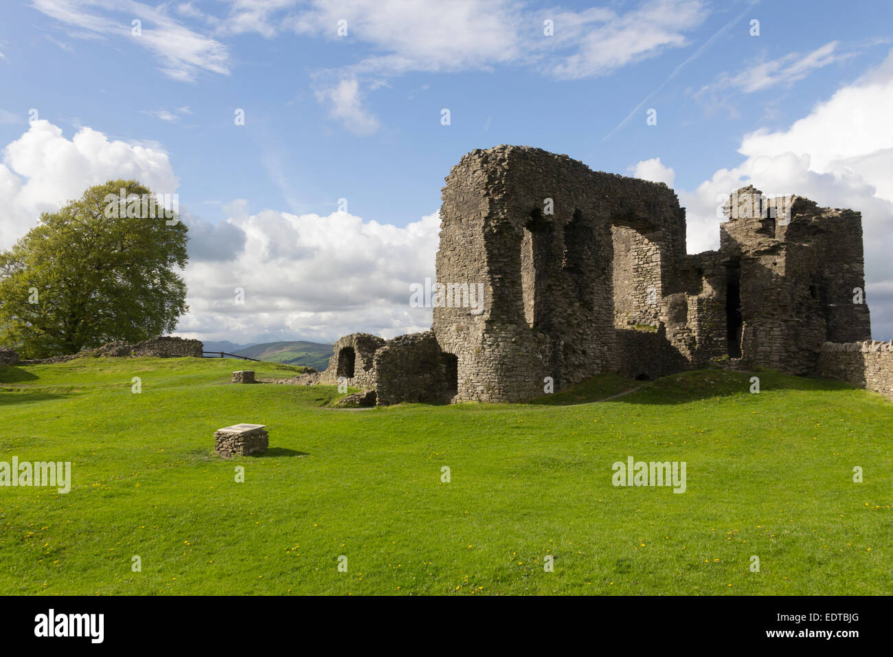 Kendal in the Lake District with a section of the ruin manor house at Kendal Castle, Cumbria. The long-ruined castle - Stock Image