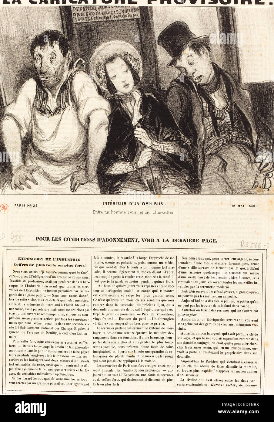 Honoré Daumier (French, 1808 - 1879), Intérieur d'un omnibus, 1839, lithograph on newsprint - Stock Image