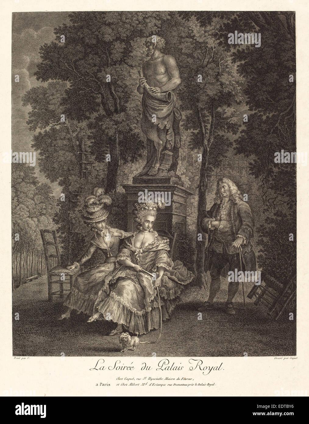 Jean Gabriel Caquet after François-André Vincent (French, 1749 - 1802), La soiree du Palais Royal, etching - Stock Image