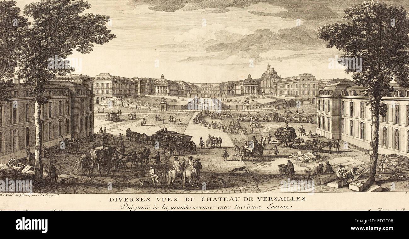 Jean-Baptiste Rigaud (French, active 1752-1761), Vue Prise de la grande avenue entre les deux Ecuries, etching and - Stock Image
