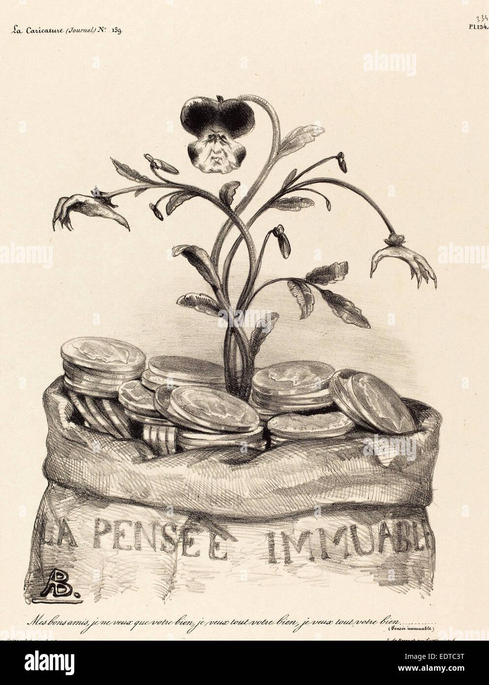 Auguste Bouquet, La Pensée Immunable, lithograph on chine collé - Stock Image