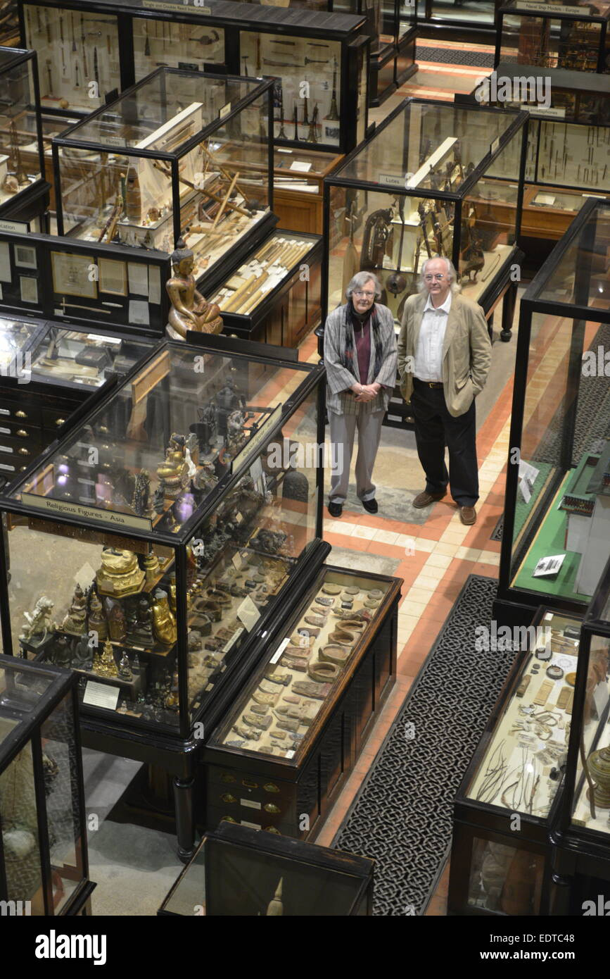 Dame Penelope Lively and Philip Pullman at the Pitt Rivers Museum in Oxford - Stock Image